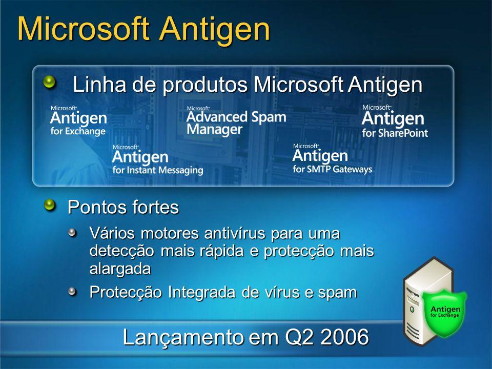 Linha de produtos Microsoft Antigen Lançamento em Q2 2006 Pontos fortes Vários motores antivírus para uma detecção mais rápida e protecção mais alarga