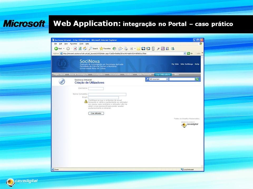 Web Application: integração no Portal – caso prático