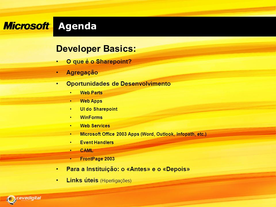 Agenda Developer Basics: O que é o Sharepoint.