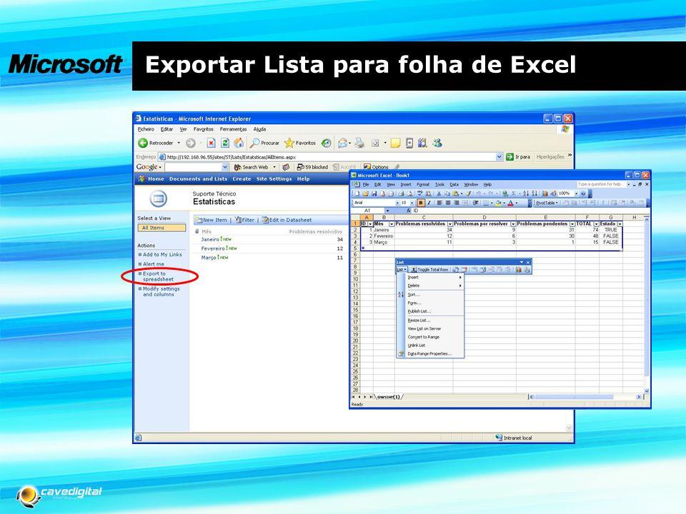 Exportar Lista para folha de Excel