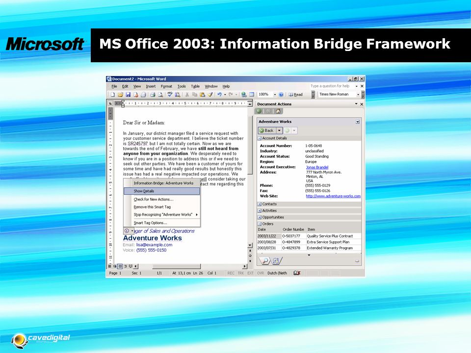 MS Office 2003: Information Bridge Framework