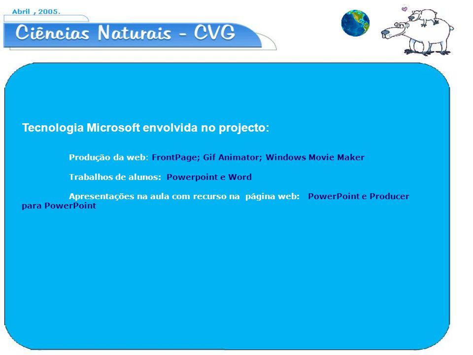 Tecnologia Microsoft envolvida no projecto: Produção da web: FrontPage; Gif Animator; Windows Movie Maker Trabalhos de alunos: Powerpoint e Word Apres