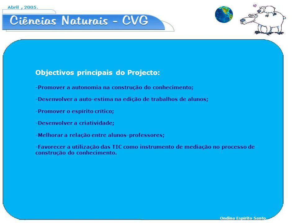 Objectivos principais do Projecto: -Promover a autonomia na construção do conhecimento; -Desenvolver a auto-estima na edição de trabalhos de alunos; -