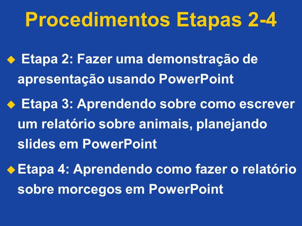 Procedimentos Etapas 2-4 Etapa 2: Fazer uma demonstração de apresentação usando PowerPoint Etapa 3: Aprendendo sobre como escrever um relatório sobre animais, planejando slides em PowerPoint Etapa 4: Aprendendo como fazer o relatório sobre morcegos em PowerPoint
