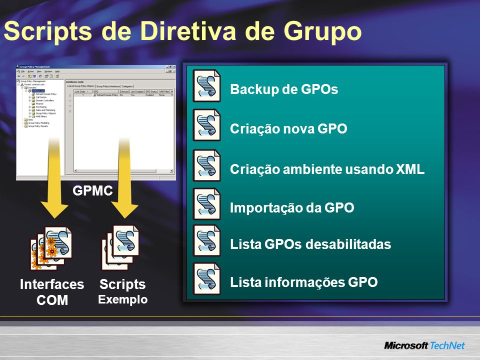Scripts de Diretiva de Grupo GPMC Interfaces COM Scripts Exemplo Backup de GPOsCriação nova GPOCriação ambiente usando XMLImportação da GPOLista GPOs desabilitadasLista informações GPO