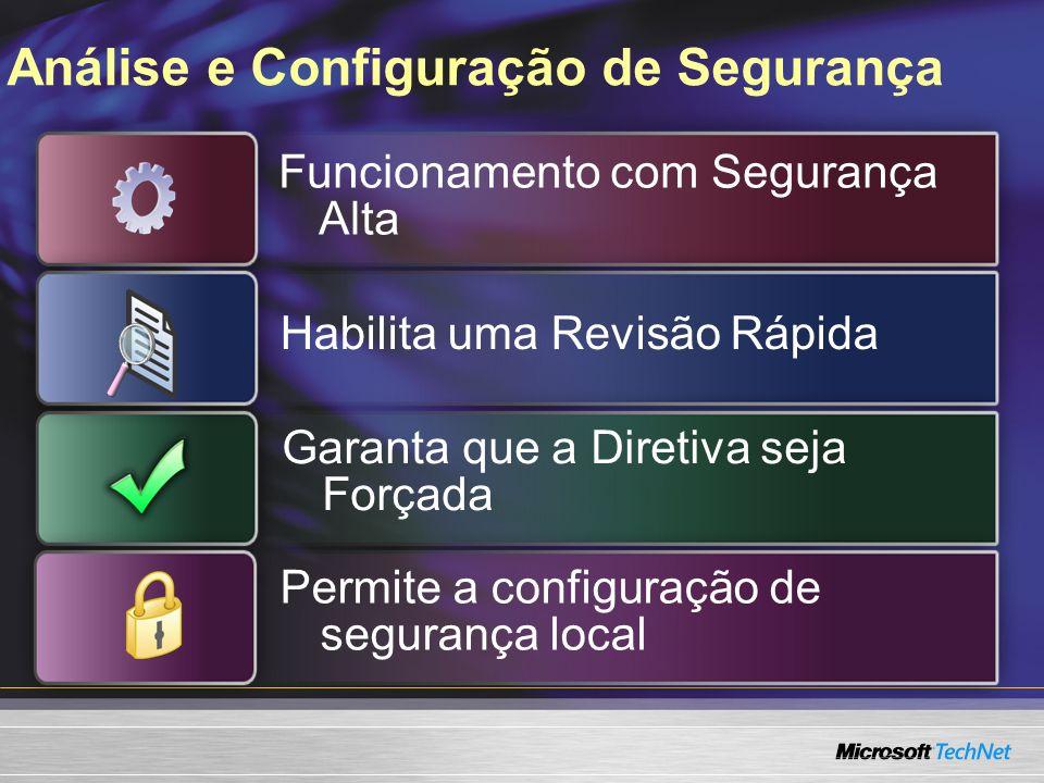 Análise e Configuração de Segurança Funcionamento com Segurança Alta Habilita uma Revisão Rápida Garanta que a Diretiva seja Forçada Permite a configuração de segurança local