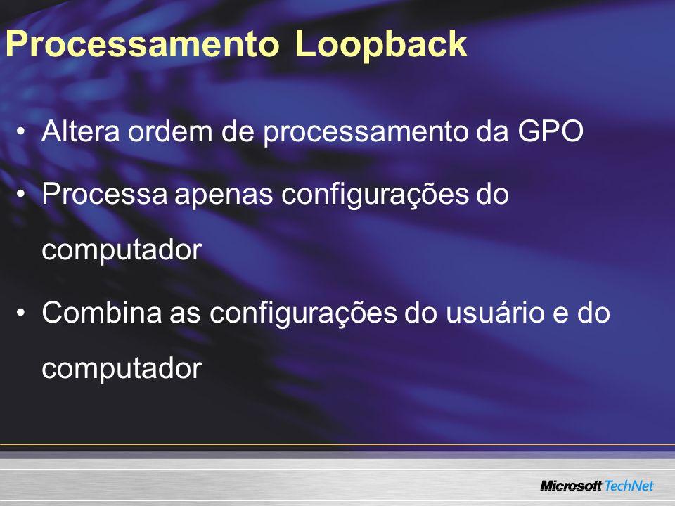 Processamento Loopback Altera ordem de processamento da GPO Processa apenas configurações do computador Combina as configurações do usuário e do compu