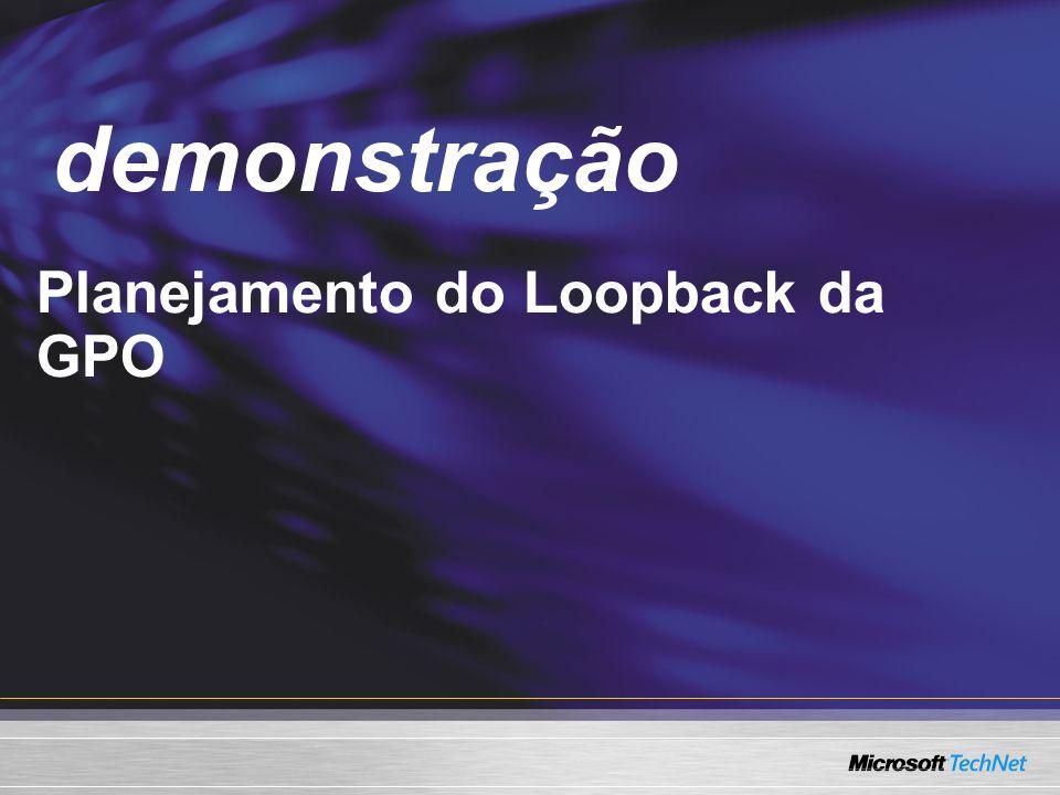 Demo Planejamento do Loopback da GPO demonstração
