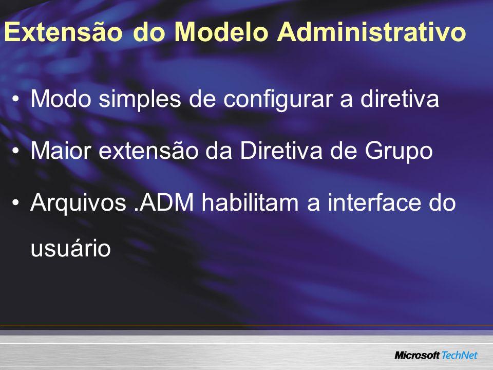Extensão do Modelo Administrativo Modo simples de configurar a diretiva Maior extensão da Diretiva de Grupo Arquivos.ADM habilitam a interface do usuário