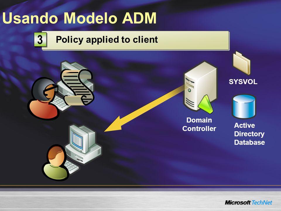 Usando Modelo ADM Domain Controller Active Directory Database SYSVOL Modify Group Policy 1 1 Stored on domain controller 2 2 Policy applied to client 3 3