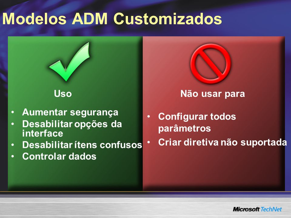 Modelos ADM Customizados Uso Não usar para Aumentar segurança Desabilitar opções da interface Desabilitar ítens confusos Controlar dados Configurar todos parâmetros Criar diretiva não suportada