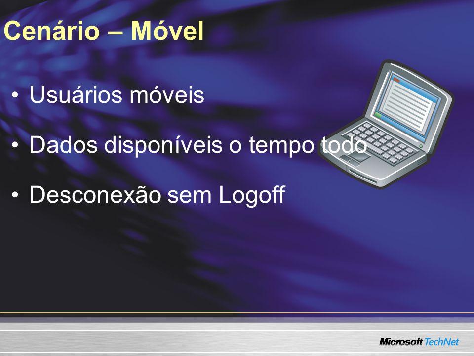 Cenário – Móvel Usuários móveis Dados disponíveis o tempo todo Desconexão sem Logoff