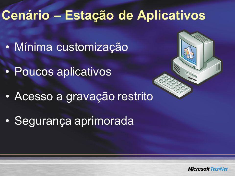 Cenário – Estação de Aplicativos Mínima customização Poucos aplicativos Acesso a gravação restrito Segurança aprimorada