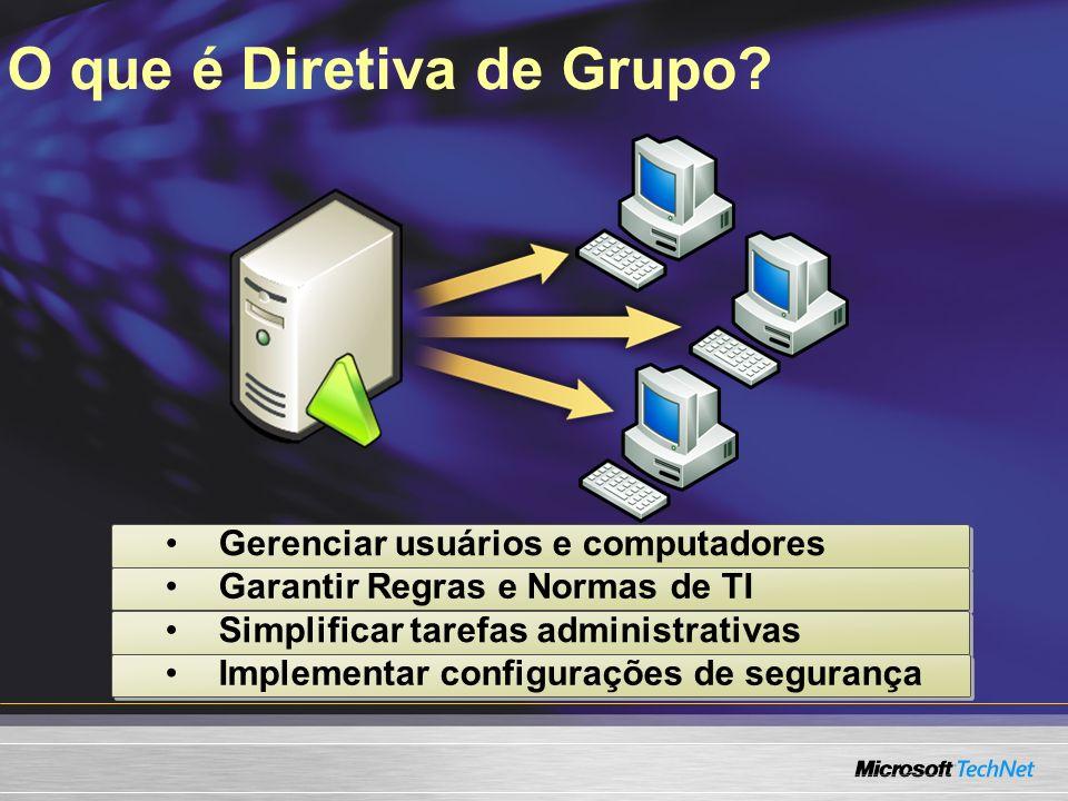 O que é Diretiva de Grupo? Gerenciar usuários e computadores Garantir Regras e Normas de TI Simplificar tarefas administrativas Implementar configuraç