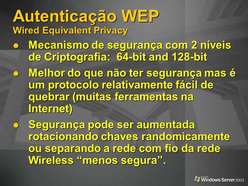 Autenticação WEP Wired Equivalent Privacy Mecanismo de segurança com 2 níveis de Criptografia: 64-bit and 128-bit Mecanismo de segurança com 2 níveis
