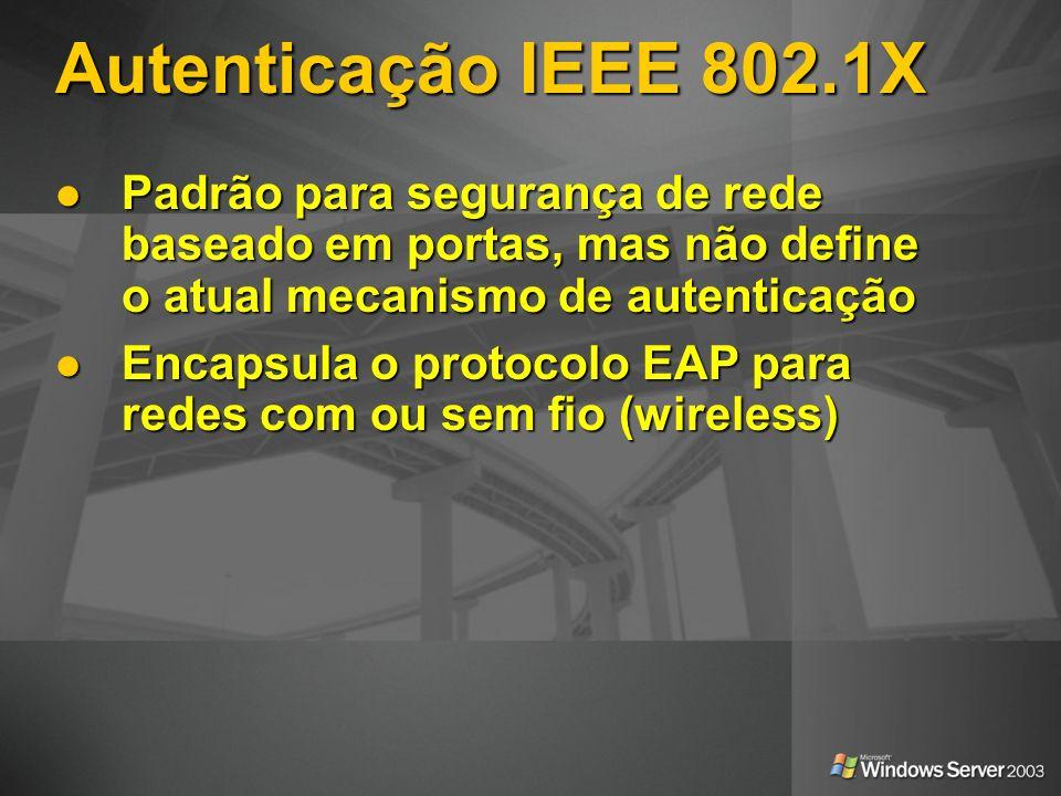 Autenticação IEEE 802.1X Padrão para segurança de rede baseado em portas, mas não define o atual mecanismo de autenticação Padrão para segurança de re