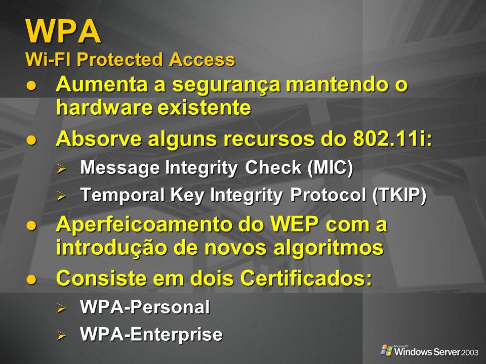 WPA Wi-FI Protected Access Aumenta a segurança mantendo o hardware existente Aumenta a segurança mantendo o hardware existente Absorve alguns recursos