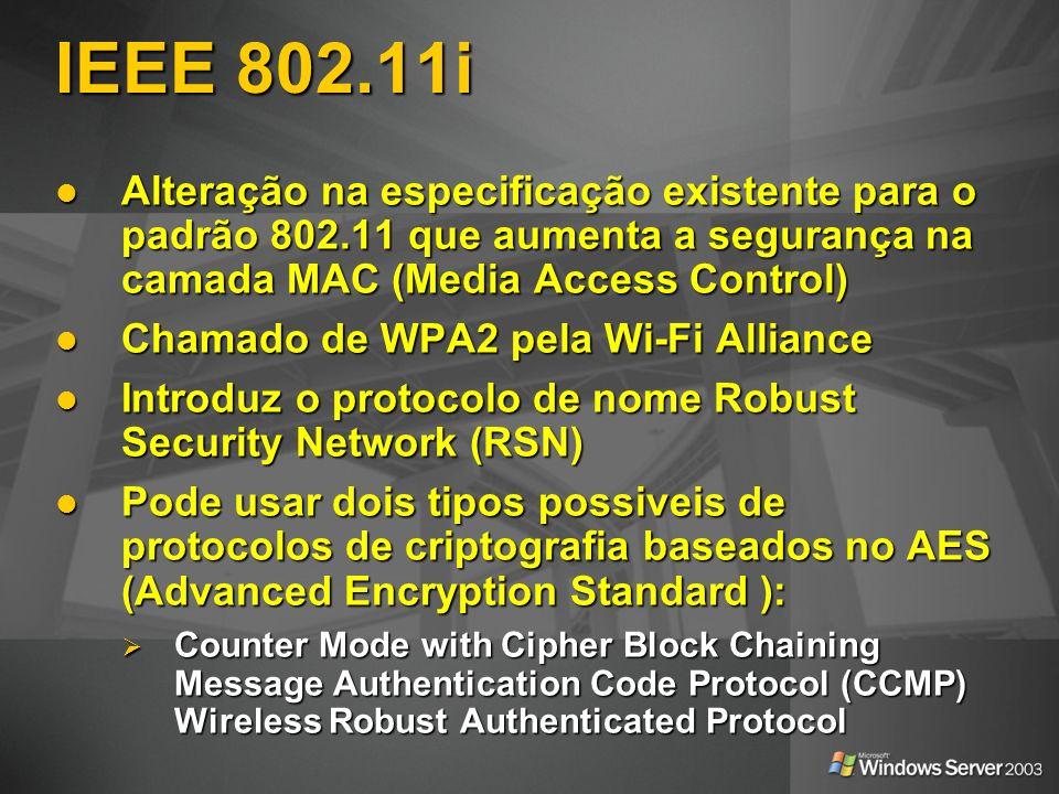 IEEE 802.11i Alteração na especificação existente para o padrão 802.11 que aumenta a segurança na camada MAC (Media Access Control) Alteração na espec