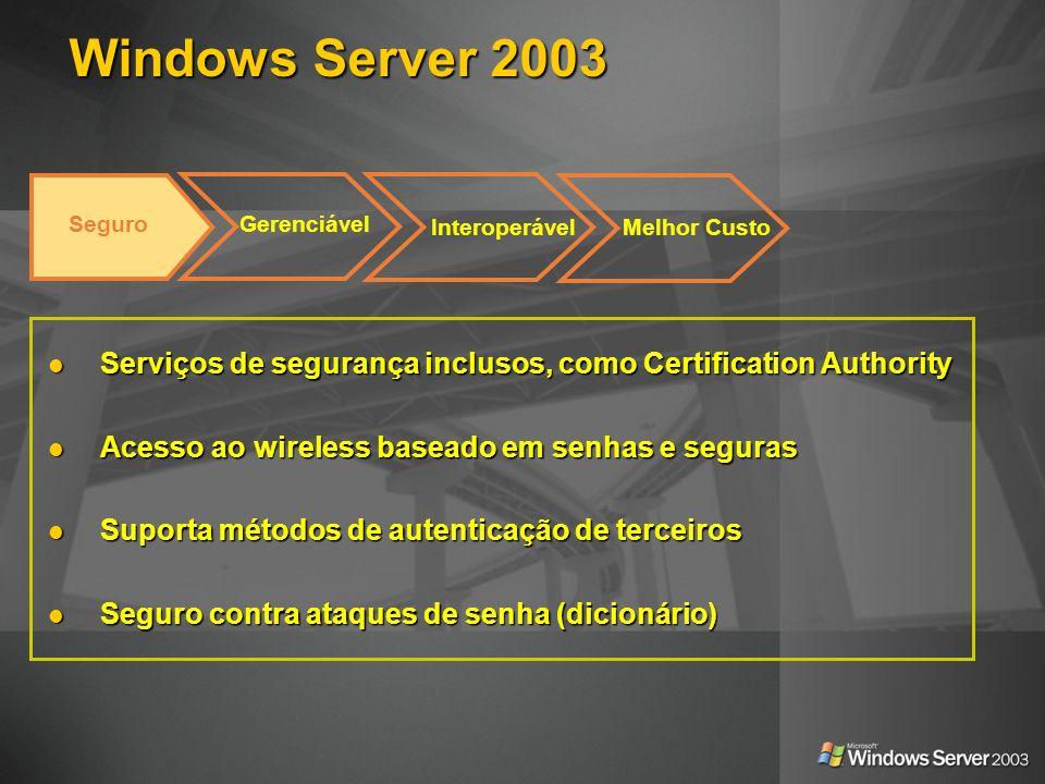 Windows Server 2003 Serviços de segurança inclusos, como Certification Authority Serviços de segurança inclusos, como Certification Authority Acesso a