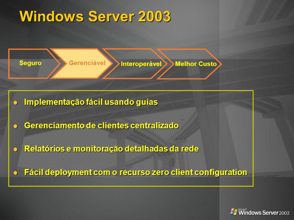 Windows Server 2003 Seguro Interoperável Gerenciável Melhor Custo Implementação fácil usando guias Implementação fácil usando guias Gerenciamento de c