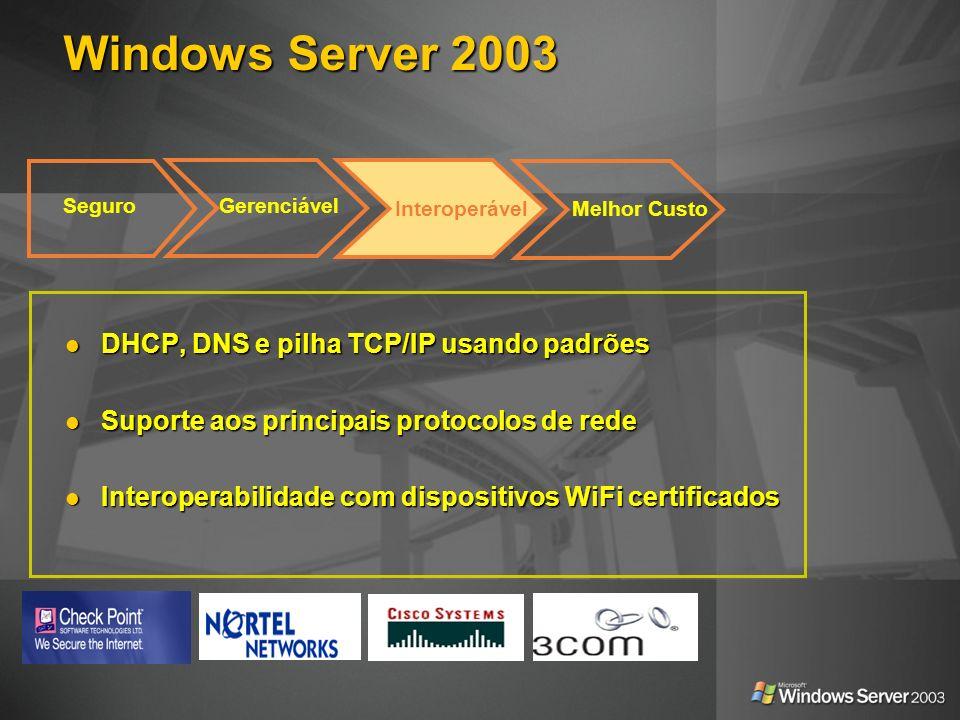 Windows Server 2003 DHCP, DNS e pilha TCP/IP usando padrões DHCP, DNS e pilha TCP/IP usando padrões Suporte aos principais protocolos de rede Suporte