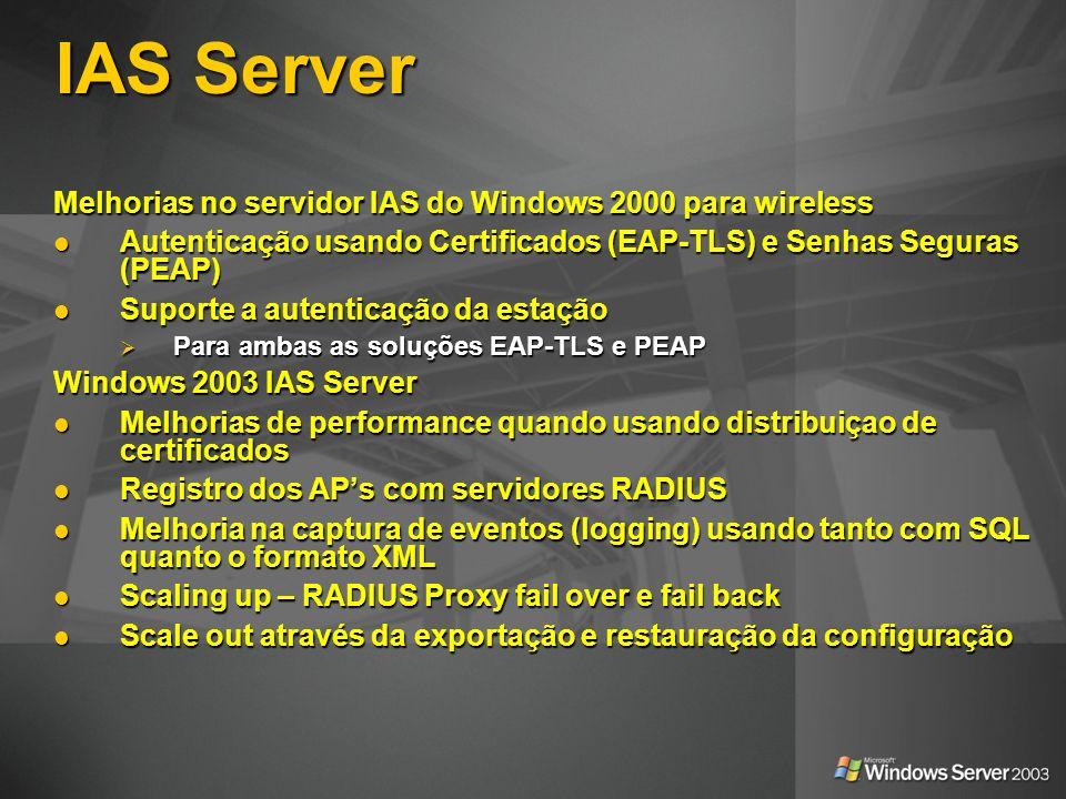IAS Server Melhorias no servidor IAS do Windows 2000 para wireless Autenticação usando Certificados (EAP-TLS) e Senhas Seguras (PEAP) Autenticação usa