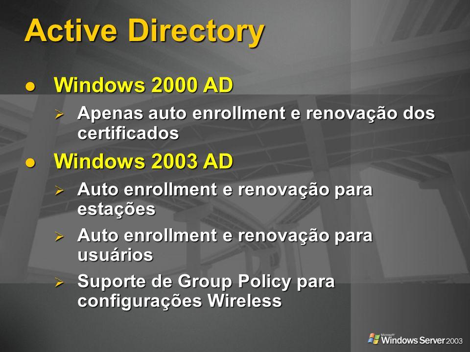 Active Directory Windows 2000 AD Windows 2000 AD Apenas auto enrollment e renovação dos certificados Apenas auto enrollment e renovação dos certificad