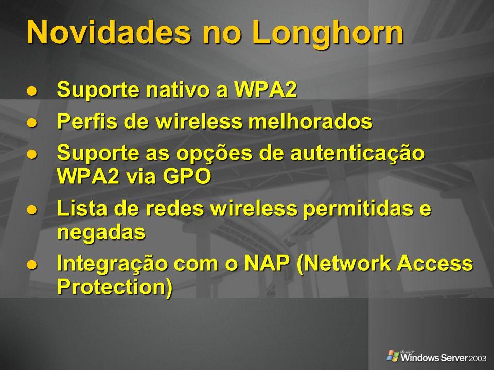 Novidades no Longhorn Suporte nativo a WPA2 Suporte nativo a WPA2 Perfis de wireless melhorados Perfis de wireless melhorados Suporte as opções de aut