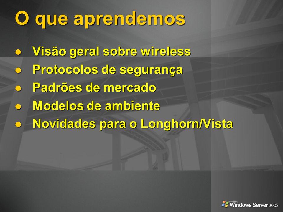 O que aprendemos Visão geral sobre wireless Visão geral sobre wireless Protocolos de segurança Protocolos de segurança Padrões de mercado Padrões de m