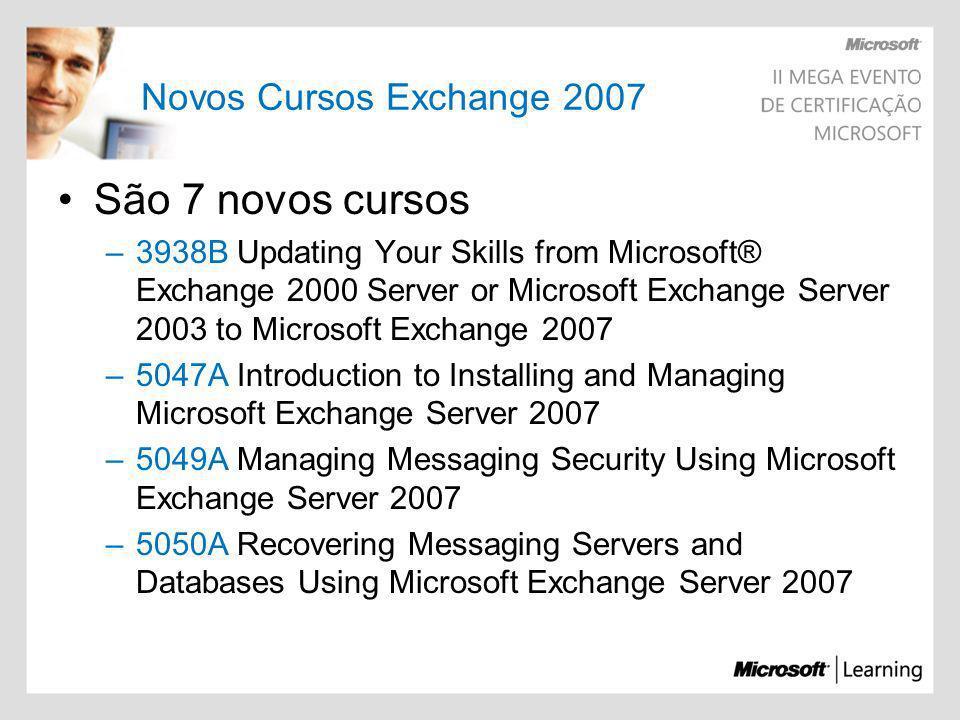 Novos Cursos Exchange 2007 São 7 novos cursos –3938B Updating Your Skills from Microsoft® Exchange 2000 Server or Microsoft Exchange Server 2003 to Mi