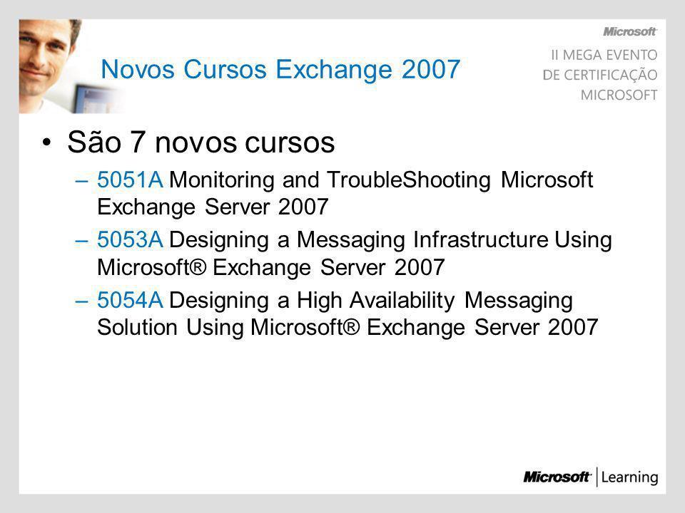 Novos Cursos Exchange 2007 São 7 novos cursos –5051A Monitoring and TroubleShooting Microsoft Exchange Server 2007 –5053A Designing a Messaging Infras
