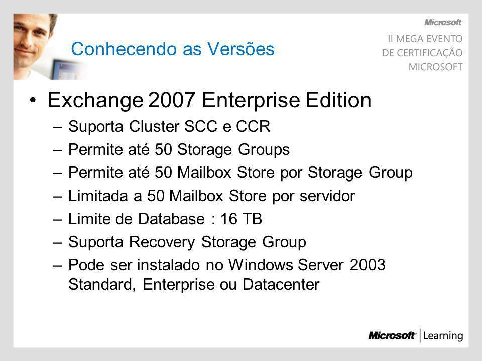 Conhecendo as Versões Exchange 2007 Enterprise Edition –Suporta Cluster SCC e CCR –Permite até 50 Storage Groups –Permite até 50 Mailbox Store por Sto