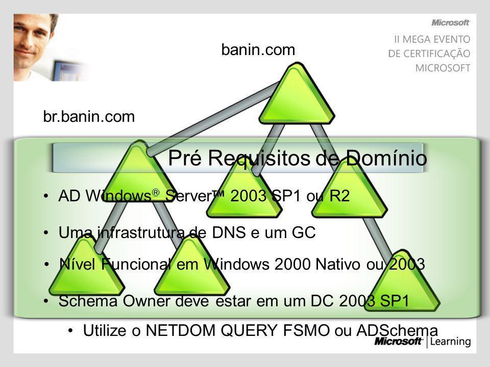 br.banin.com banin.com Pré Requisitos de Domínio AD Windows ® Server 2003 SP1 ou R2 Nível Funcional em Windows 2000 Nativo ou 2003 Uma infrastrutura d