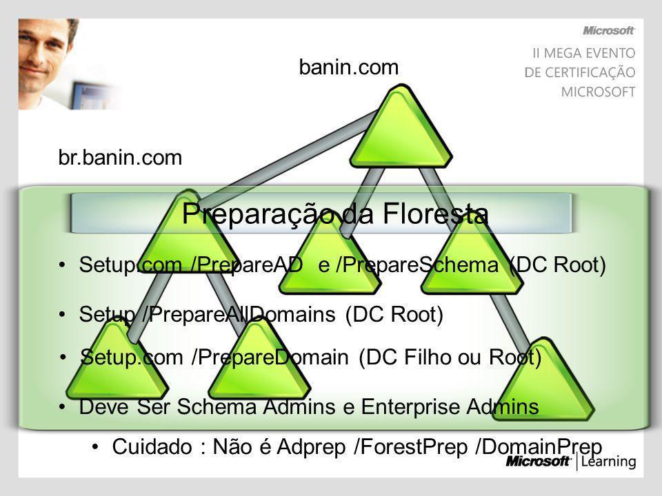 br.banin.com banin.com Preparação da Floresta Setup.com /PrepareAD e /PrepareSchema (DC Root) Setup.com /PrepareDomain (DC Filho ou Root) Setup /Prepa