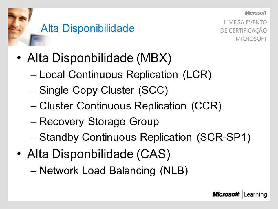 Alta Disponibilidade Alta Disponbilidade (MBX) –Local Continuous Replication (LCR) –Single Copy Cluster (SCC) –Cluster Continuous Replication (CCR) –R