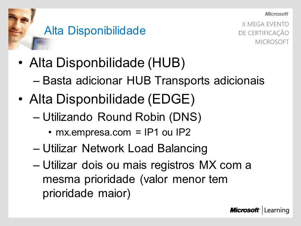Alta Disponibilidade Alta Disponbilidade (HUB) –Basta adicionar HUB Transports adicionais Alta Disponbilidade (EDGE) –Utilizando Round Robin (DNS) mx.