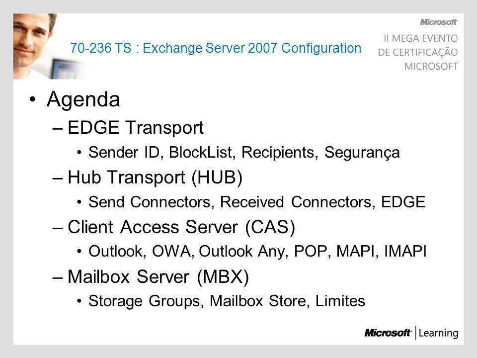70-236 TS : Exchange Server 2007 Configuration Agenda –EDGE Transport Sender ID, BlockList, Recipients, Segurança –Hub Transport (HUB) Send Connectors