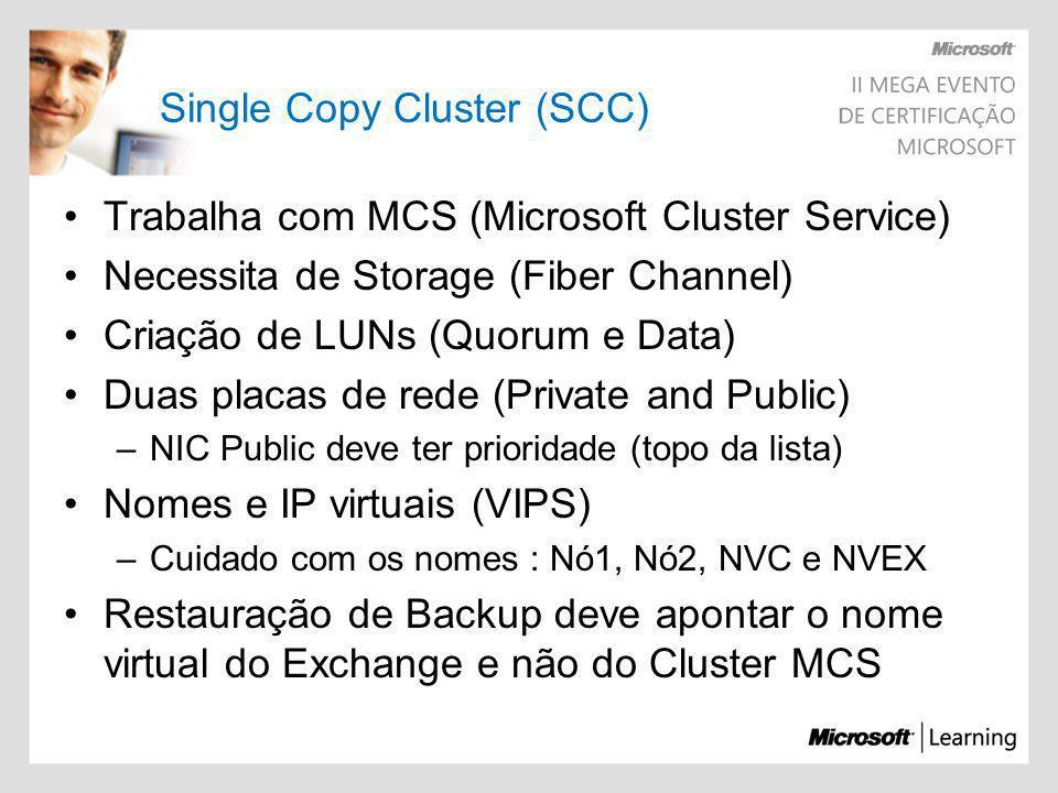 Trabalha com MCS (Microsoft Cluster Service) Necessita de Storage (Fiber Channel) Criação de LUNs (Quorum e Data) Duas placas de rede (Private and Pub