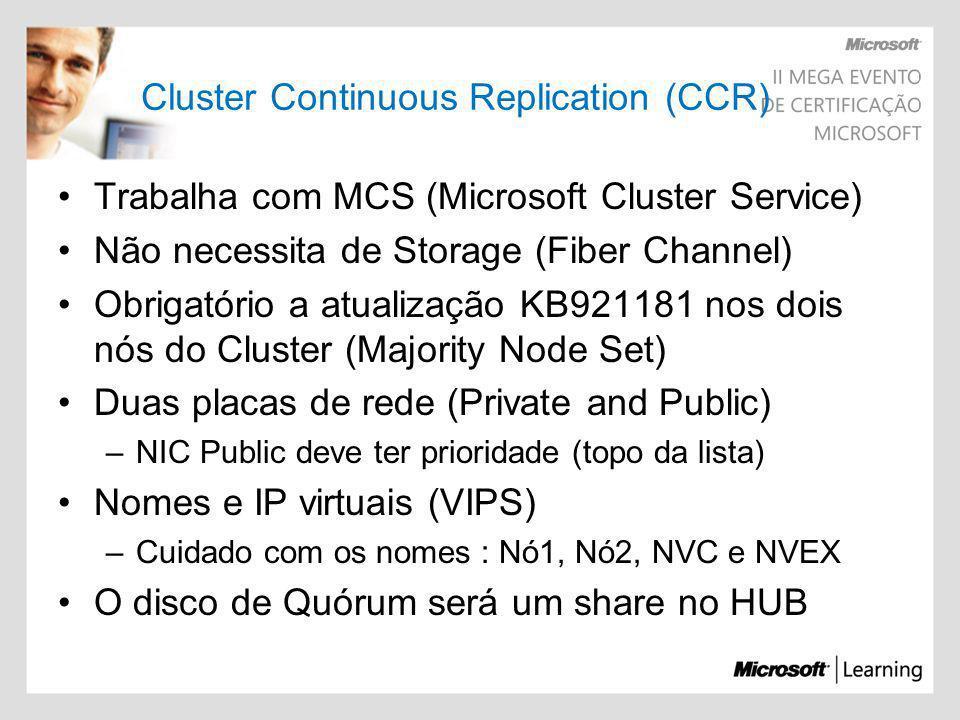 Trabalha com MCS (Microsoft Cluster Service) Não necessita de Storage (Fiber Channel) Obrigatório a atualização KB921181 nos dois nós do Cluster (Majo
