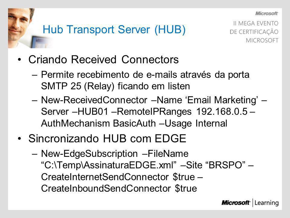 Hub Transport Server (HUB) Criando Received Connectors –Permite recebimento de e-mails através da porta SMTP 25 (Relay) ficando em listen –New-Receive