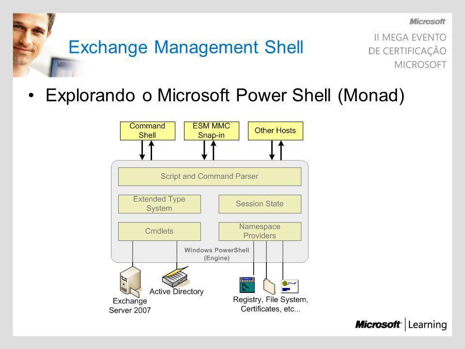 Exchange Management Shell Explorando o Microsoft Power Shell (Monad)