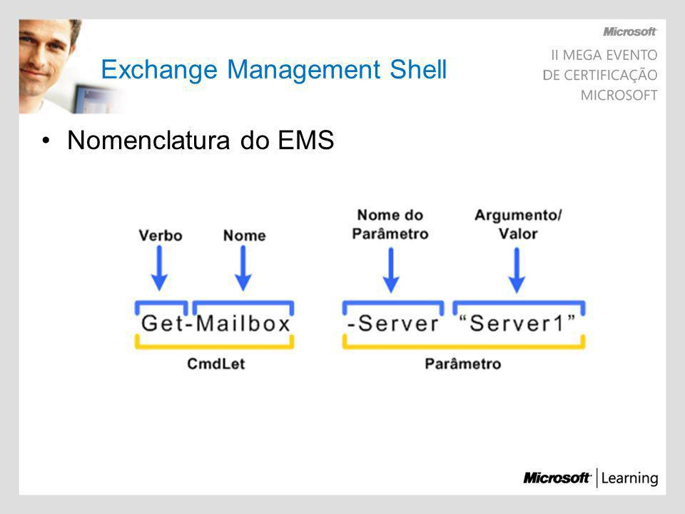 Exchange Management Shell Nomenclatura do EMS