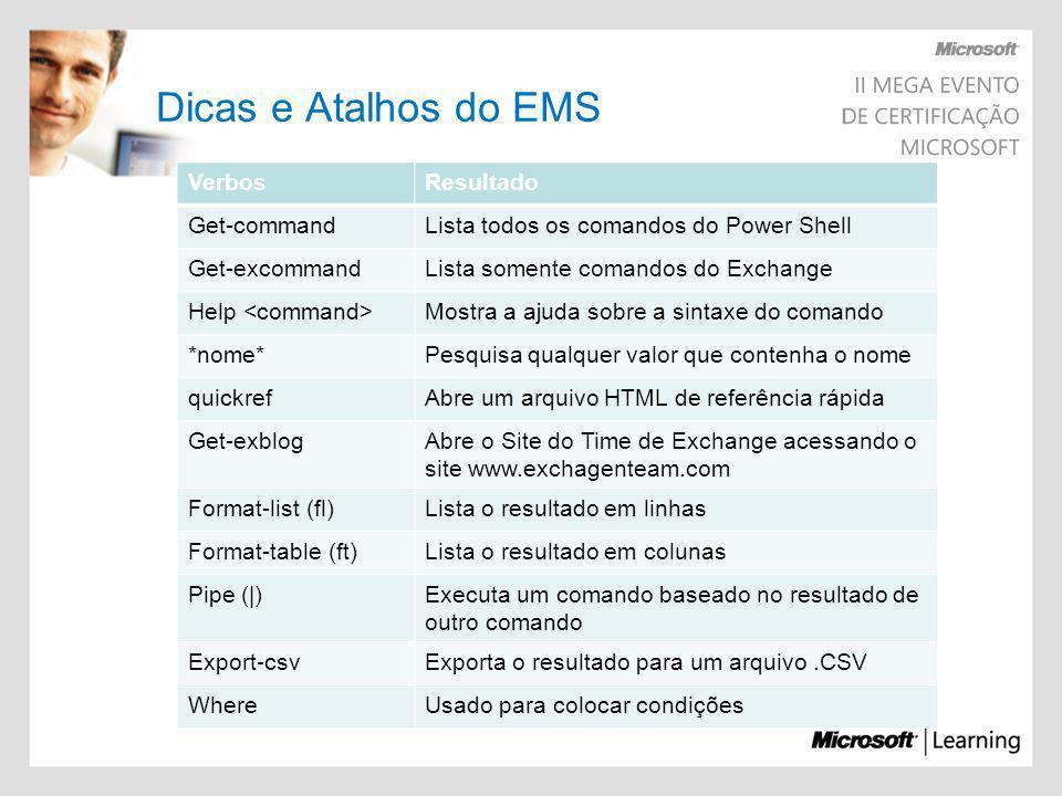 Dicas e Atalhos do EMS VerbosResultado Get-commandLista todos os comandos do Power Shell Get-excommandLista somente comandos do Exchange Help Mostra a
