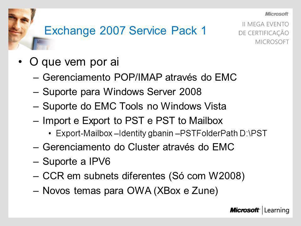 Edge Transport Rule Única ROLE que pode ser instalada em um servidor StandAlone (WorkGroup) Precisa do Active Directory Application Mode (ADAM) Service Pack 1 Também deve ser x64 MMC 3.0, Framework 2.0 e Power Shell Backup do EDGE –[PS] C:\ExportEdgeConfig.ps1 –CloneConfigData C:\BackupEdge\BKPED.xml