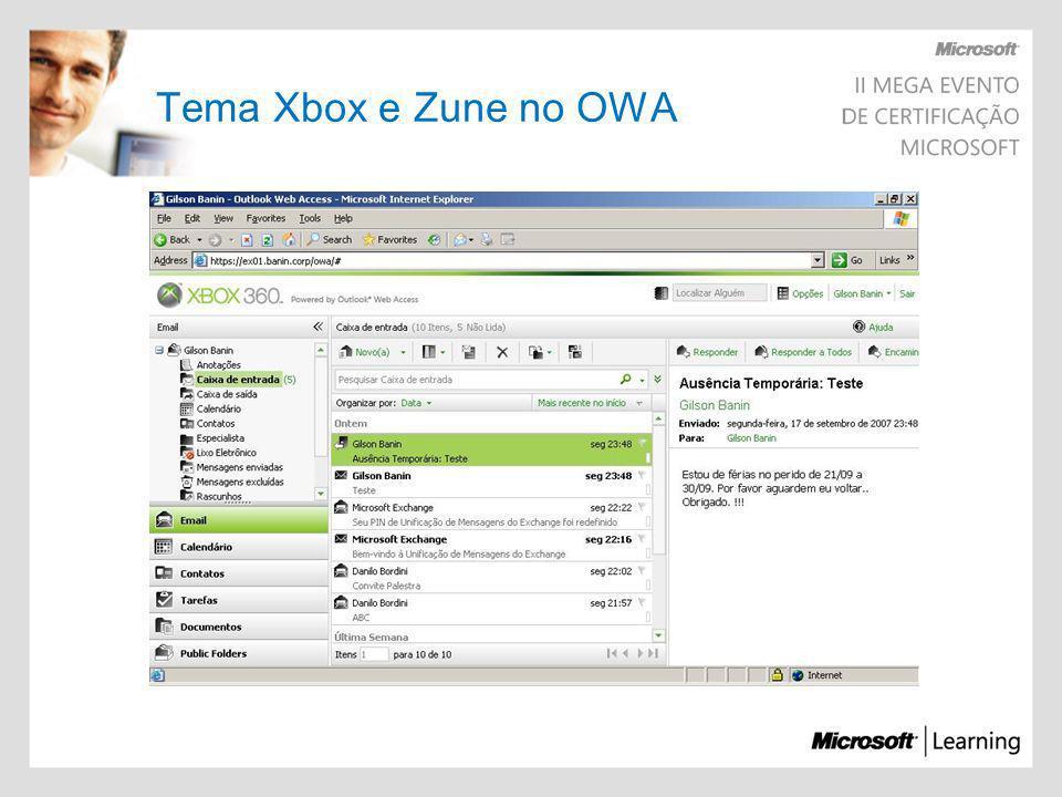 Tema Xbox e Zune no OWA
