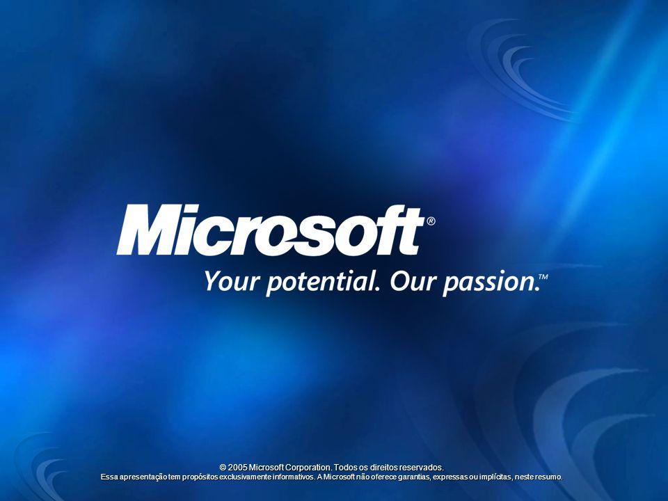 © 2005 Microsoft Corporation. Todos os direitos reservados. Essa apresentação tem propósitos exclusivamente informativos. A Microsoft não oferece gara