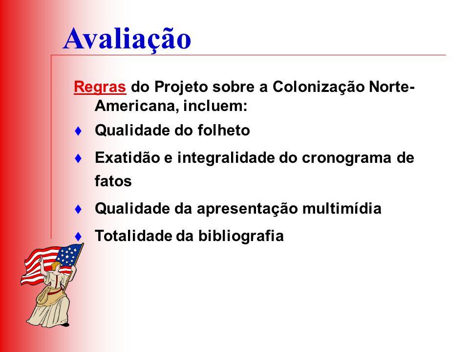 Avaliação Regras do Projeto sobre a Colonização Norte- Americana, incluem: Qualidade do folheto Exatidão e integralidade do cronograma de fatos Qualid