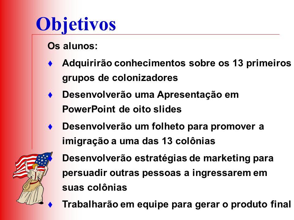 Objetivos Os alunos: Adquirirão conhecimentos sobre os 13 primeiros grupos de colonizadores Desenvolverão uma Apresentação em PowerPoint de oito slide