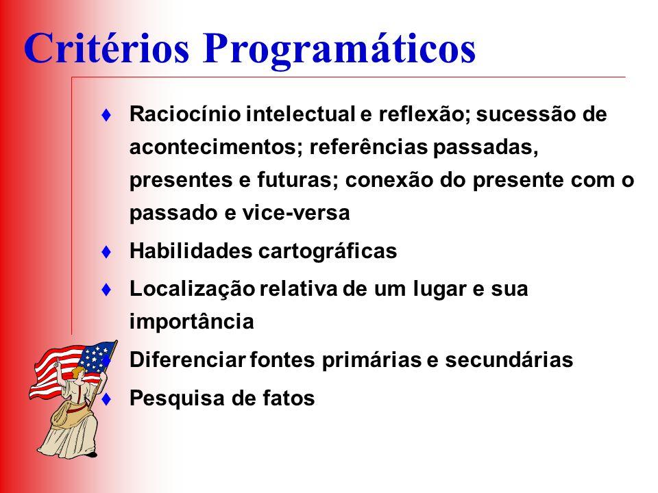 Critérios Programáticos Raciocínio intelectual e reflexão; sucessão de acontecimentos; referências passadas, presentes e futuras; conexão do presente