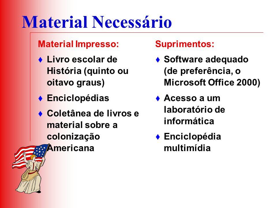 Material Necessário Material Impresso: Livro escolar de História (quinto ou oitavo graus) Enciclopédias Coletânea de livros e material sobre a coloniz
